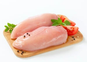 Chicken breast meat is leaner than skin-covered dark meat.